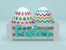 3d colored Easter eggs in wooden box Royalty Free Stock Images