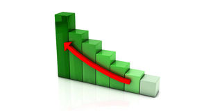 3d colored graph. With an upward arrow on white background Stock Photos