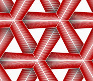 3D colored red triangular striped grid Royalty Free Stock Image