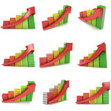 3d colored stack of books bar graph chart with red arrow Stock Photo