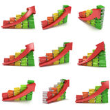 3d colored stack of books bar graph chart with red arrow Royalty Free Stock Image