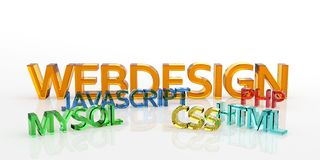 3D Colored Webdesign Words - Made of Glass. 3D Colored Webdesign Words Made of Glass with Reflection on the Ground and White Background - MYSQL, CSS, HTML, PHP royalty free illustration