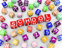 3d colorful alphabets blocks cubes word school Royalty Free Stock Photography