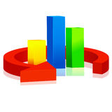 3D colorful arrow and rectangle. 3D arrow and rectangle. Vector illustration Royalty Free Stock Photos