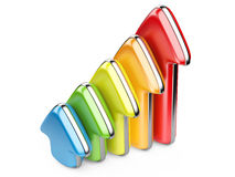 3D colorful arrows growth upward Stock Photography