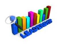Leadership graphics. 3D colorful bar chart with magnifying glass and text graphics leadership Royalty Free Stock Images
