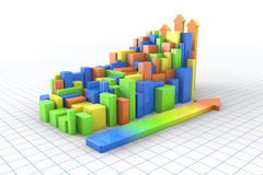 3d colorful Bar graph. Progress and Growth Stock Photos