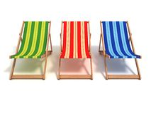 3d colorful beach chairs Stock Images