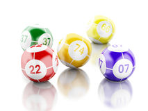 3d Colorful bingo balls against white background. 3d renderer image. Colorful bingo balls. Games concept.  white background Royalty Free Stock Images