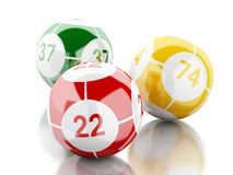 3d Colorful bingo balls against white background. Royalty Free Stock Photography