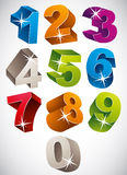 3D colorful bold numbers vector set. Stock Image