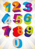 3D colorful bold numbers vector set. Royalty Free Stock Image