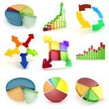 3d colorful business graph set Stock Photos