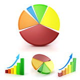 3d colorful business graph set Stock Photos