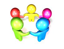 3d colorful children together holding hands. Stock Photography