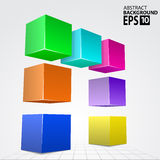 3D Colorful Cube Arc, Vector Illustration Background. Royalty Free Stock Photo