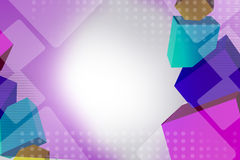 3d colorful cube overlap, abstract background Stock Photography