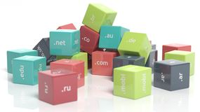 3d colorful cubes. With domain extensions  on white Royalty Free Stock Photo