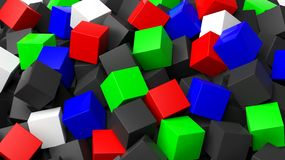 3D colorful cubes pile Stock Photos