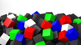 3D colorful cubes pile. On white with copy-space Stock Photo