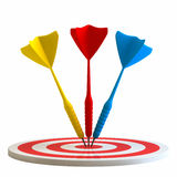 Darts on center Stock Images