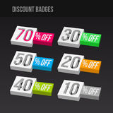 Colorful 3D Discount Badges Royalty Free Stock Image