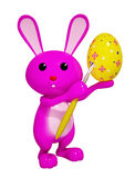 3d Colorful easter bunny painting egg Stock Photography