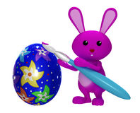 3d Colorful Easter  bunny painting egg. Colorful Easter  bunny painting egg Royalty Free Stock Photos