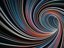3d colorful empty twisted tunnel of lines. Abstract digital graphic background, colorful empty twisted tunnel of glowing lines, 3d illustration Stock Images