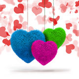 3d colorful fluffy hearts Stock Photo