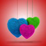 3d colorful fluffy hearts Royalty Free Stock Image