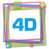 4D Colorful Frame. 4D text written over colorful background Royalty Free Stock Photos