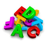 Stack of letters. 3D colorful funny stack of letters on white background illustration Stock Photo