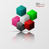 3d colorful and geometric shapes. 3d vector, colorful and geometric shapes Stock Image