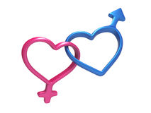 3d colorful hearts, gender symbols linked together Royalty Free Stock Photos