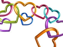 3d colorful hearts linked together into chain. 3d mixed colors hearts connected together, linked rings, chain; love, marriage and friendship symbol; Valentines Stock Images