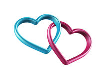 3d colorful hearts linked together. 3d mixed colors hearts connected together, linked rings, chain; love, marriage and friendship symbol; Valentines Day clip art Stock Photo