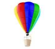 3d Colorful hot air ballon. Isolated white background. Royalty Free Stock Images