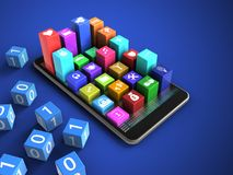 3d colorful icons. 3d illustration of mobile phone over blue background with binary cubes and colorful icons Royalty Free Illustration