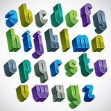 3d colorful letters alphabet, dimensional font in blue and green Stock Photos