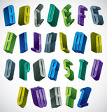 3d colorful letters alphabet. 3d colorful letters alphabet, dimensional font in blue and green colors, bright and glossy letters for design and advertising Stock Images