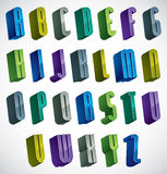 3d colorful letters alphabet. 3d colorful letters alphabet, dimensional font in blue and green colors, bright and glossy letters for design and advertising Royalty Free Stock Photography