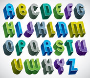 3d colorful letters bold alphabet made with round shapes. Stock Images