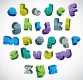 3d colorful letters futuristic alphabet made with boxes. Royalty Free Stock Images
