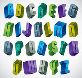 3d colorful letters geometric alphabet. Royalty Free Stock Photography