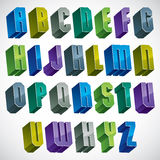 3d colorful letters geometric alphabet. 3d colorful letters geometric alphabet, dimensional bold font in blue and green colors, bright and glossy letters for Royalty Free Stock Photography