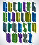 3d colorful letters tall and thin alphabet. Royalty Free Stock Photos