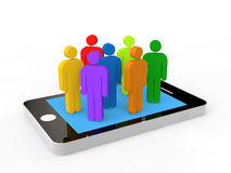 3d colorful men on a mobile phone. 3d colorful men stick figures on a mobile phone Royalty Free Stock Photo