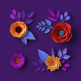 3d colorful neon paper flowers wallpaper, botanical background, red poppy, pink dahlia, spring summer clip art, floral design. 3d render of colorful neon paper stock photos