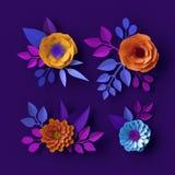 3d colorful neon paper flowers wallpaper, botanical background, spring summer clip art, floral design elements. 3d of neon paper flowers wallpaper, botanical royalty free illustration